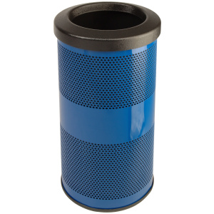10 Gallon Stadium Series Standard Receptacle with Plastic Liner in Blue with Flat Top