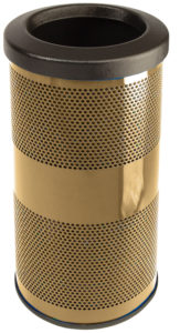 10 Gallon Stadium Series Standard Receptacle with Plastic Liner in Brass Gold with Flat Top