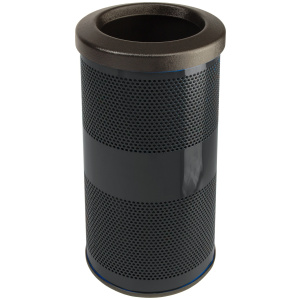 10 Gallon Stadium Series Standard Receptacle with Plastic Liner in Bumper Black with Flat Top