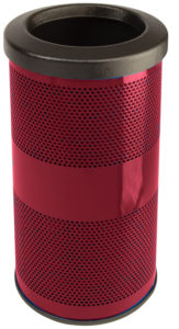 10 Gallon Stadium Series Standard Receptacle with Plastic Liner in Burgundy with Flat Top