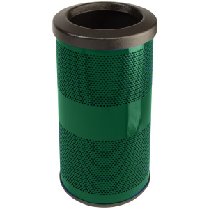 10 Gallon Stadium Series Standard Receptacle with Plastic Liner in Evergreen with Flat Top