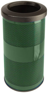 10 Gallon Stadium Series Standard Receptacle with Plastic Liner in Moss Green with Flat Top