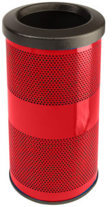 10 Gallon Stadium Series Standard Receptacle with Plastic Liner in Red Baron with Flat Top