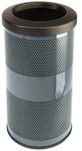 10 Gallon Stadium Series Standard Receptacle with Plastic Liner in Stone Gray with Flat Top