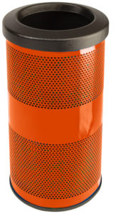 10 Gallon Stadium Series Standard Receptacle with Plastic Liner in Ultra Orange with Flat Top