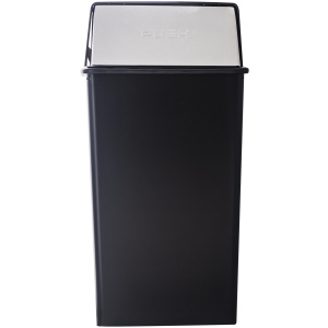 Witt 36 Gallon Monarch Series Steel Black with Chrome Accents Receptacle with Push Doors