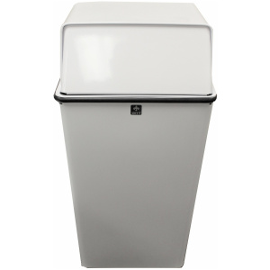 Witt 36 Gallon Monarch Series Steel White Receptacle with Push Doors
