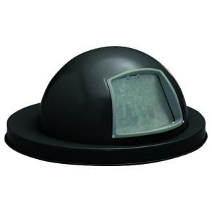 55 Gallon Steel Dome Top Drum Lid with Push Door in Black