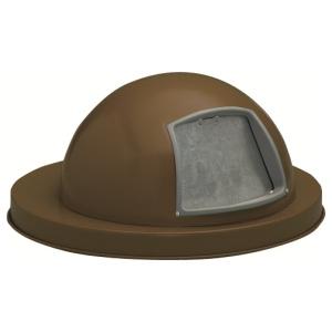55 Gallon Steel Dome Top Drum Lid with Push Door in Brown