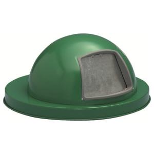 55 Gallon Steel Dome Top Drum Lid with Push Door in Green
