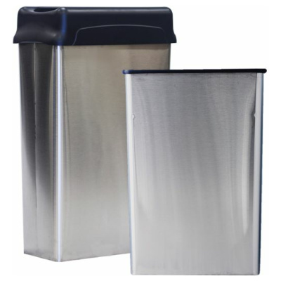 22 Gallon Witt Indoor Stainless Steel Rectangular Wastebaskets With and Without Lid