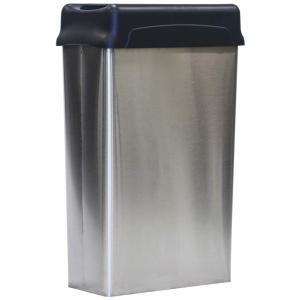 22 Gallon Witt Indoor Stainless Steel Rectangular Wastebasket with Lid