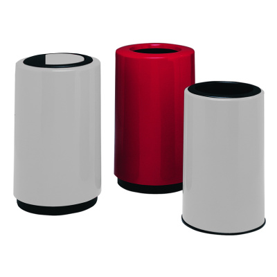 Witt Commercial Garbage Can White and Red Fiberglass Round