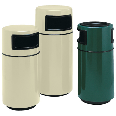 Witt Waste Container White & Green Round Side Fiberglass