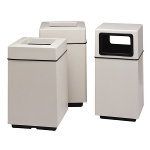 White Fiberglass Square Receptacles with Liners