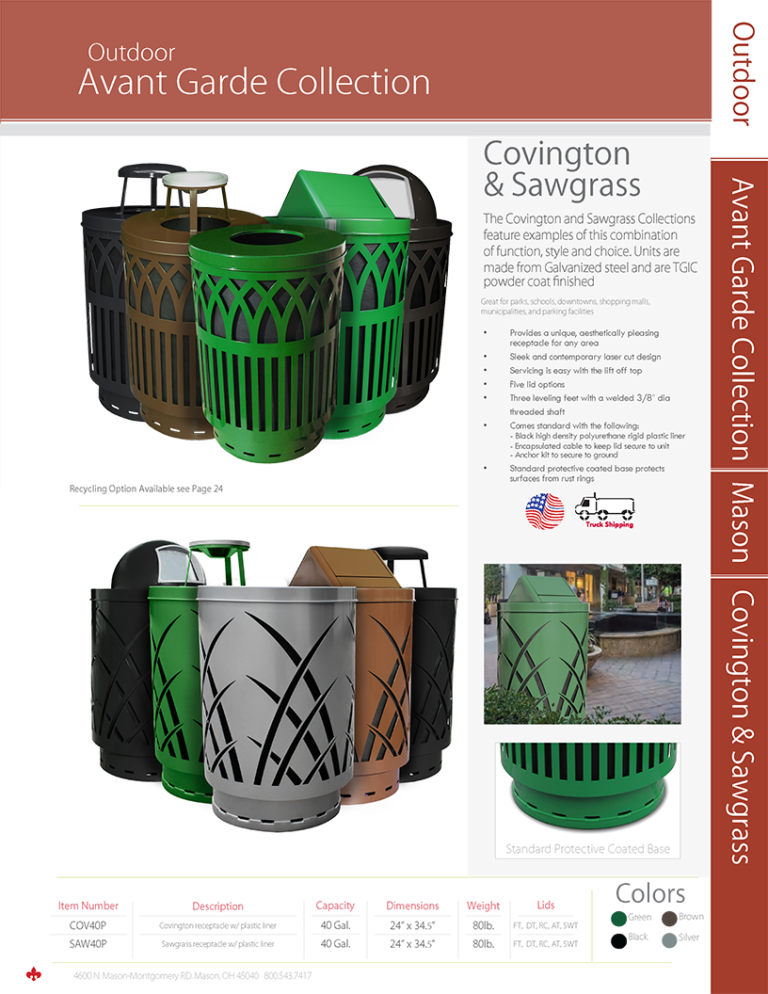Witt Outdoor Avant Garde Collection Covington and Sawgrass Catalog Page Transparent