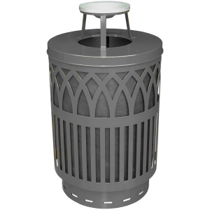Witt Covington Collection 40 Gallon Receptacle in Silver with Ash Top