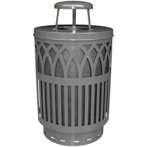 Witt Covington Collection 40 Gallon Receptacle in Silver with Rain Top