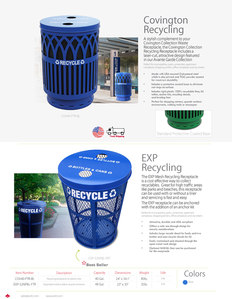 Witt Covington and EXP Recycling Catalog Page Transparent