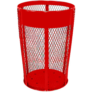 48 Gallon Expanded Metal Outdoor Container in Red