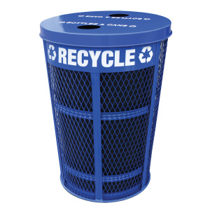 Witt Expanded Metal Outdoor Recycling Containers in Blue with 2 Opening Lid with Liner