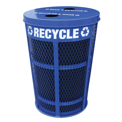 Expanded Metal Outdoor Recycle Container in Blue with 2 Opening Lid with Liner