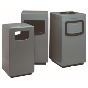 Silver Fiberglass Square Side Entry Receptacles with Liners