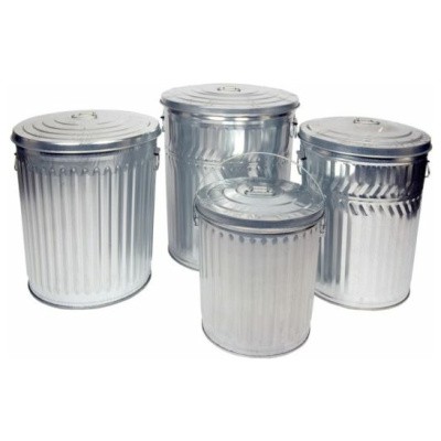 Witt Galvanized Cans with Lids Collaged with White Background