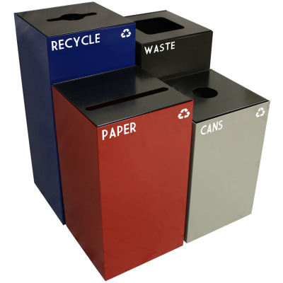 Geocube Recycling and Waste Receptacles Side by Side