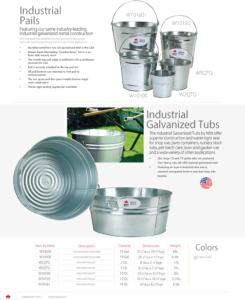 Witt Industrial Pails and Galvanized Tubs Catalog Page Transparent