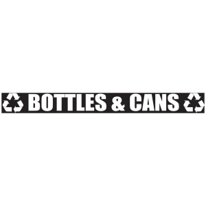 Black Bottles & Cans Banner with Recycle Logo