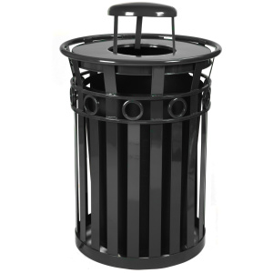 Witt Decorative Collection 36 Gallon Receptacle in Black with Rain Cap