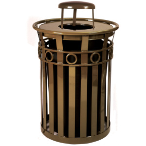 Witt Decorative Collection 36 Gallon Receptacle in Brown with Rain Cap