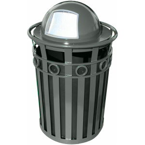 Witt Decorative Collection 36 Gallon Receptacle in Slate with Dome Top