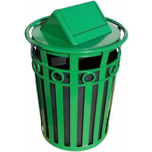 Witt Decorative Collection 36 Gallon Receptacle in Green with Swing Top