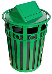Witt 36 Gallon Green Decorative Collection Receptacle with Swing Top