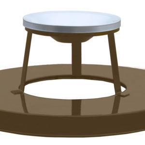 36 Gallon Steel Receptacle Ash Urn Lid in Brown