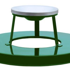 36 Gallon Steel Receptacle Ash Urn Lid in Green