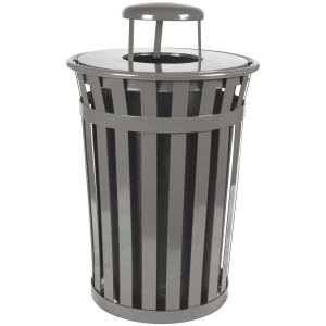 Witt Wydman Collection 36 Gallon Receptacle in Slate with Rain Cap