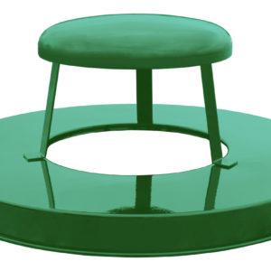 36 Gallon Steel Receptacle Rain Cap Lid in Green
