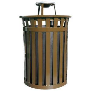 Witt Wydman Collection 50 Gallon Receptacle in Brown with Ash Top