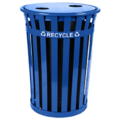 Witt Recycling Receptacles in Blue with Two Round Flat Top Opening