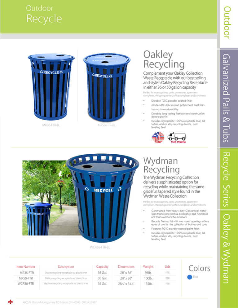 Witt Recycling Container Oakley Wydman Catalog Page