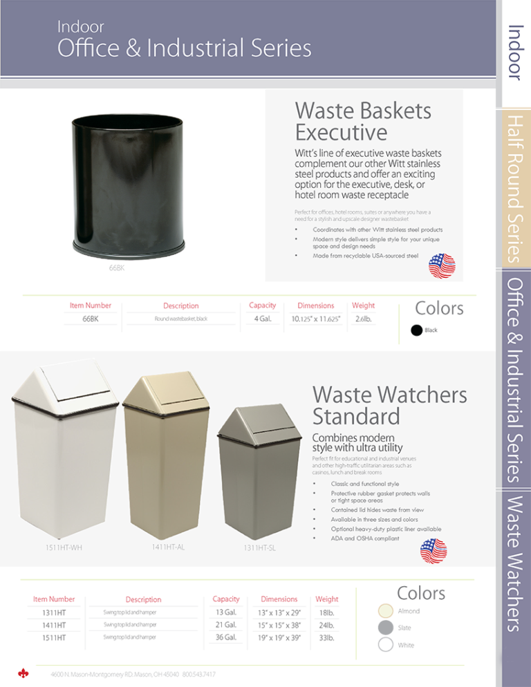 Witt Indoor Office & Industrial Series Waste Baskets Executive and Waste Watchers Standard Catalog Page Transparent
