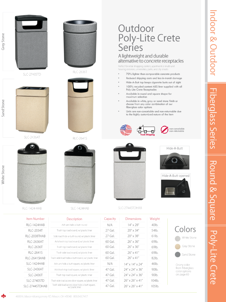 Witt Outdoor Poly-Lite Crete Series Catalog Page Transparent