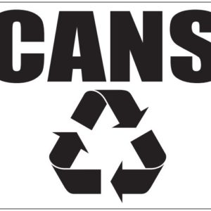 Black Cans Label in Box with Recycle Logo