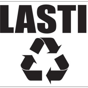 Black Plastic Label in Box with Recycle Logo