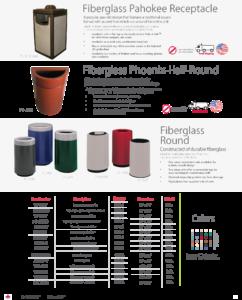 Witt Fiberglass Pahokee, Phoenix Half-Round, and Round Receptacle Catalog Page Transparent