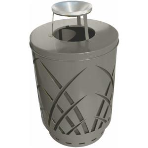 Witt 40 Gallon Covington Collection Steel Silver Trash Receptacle Ash Top