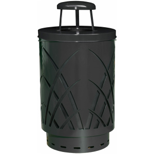Witt 40 Gallon Covington Collection Steel Black Trash Receptacle Rain Cap